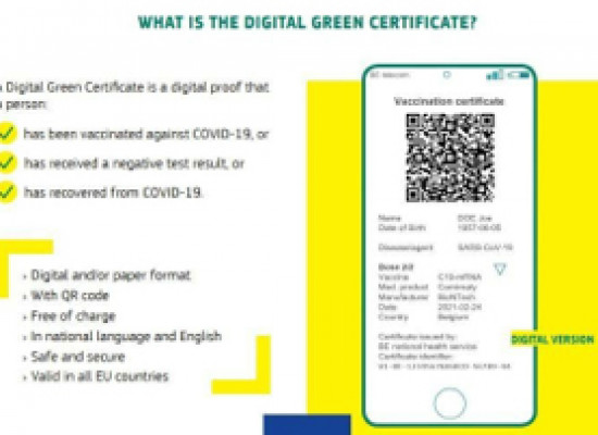Digital Green Cert. update…